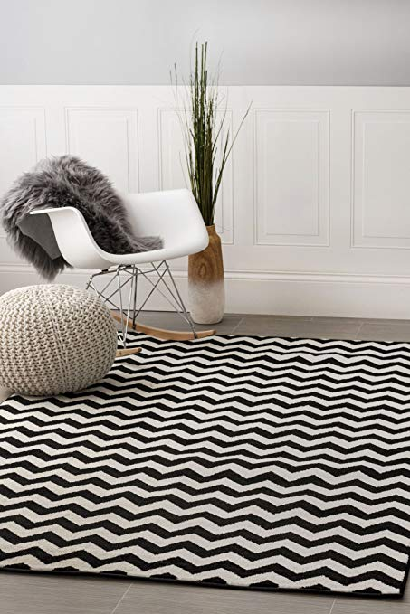 designer area rugs contemporary black chevron striped rug 5-feet by 8-feet designer area rug IWSELJK