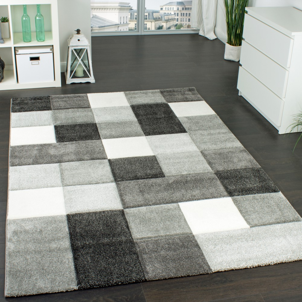 designer carpet checkered modern rug contour cut pattern grey white top  quality PUJHMPE
