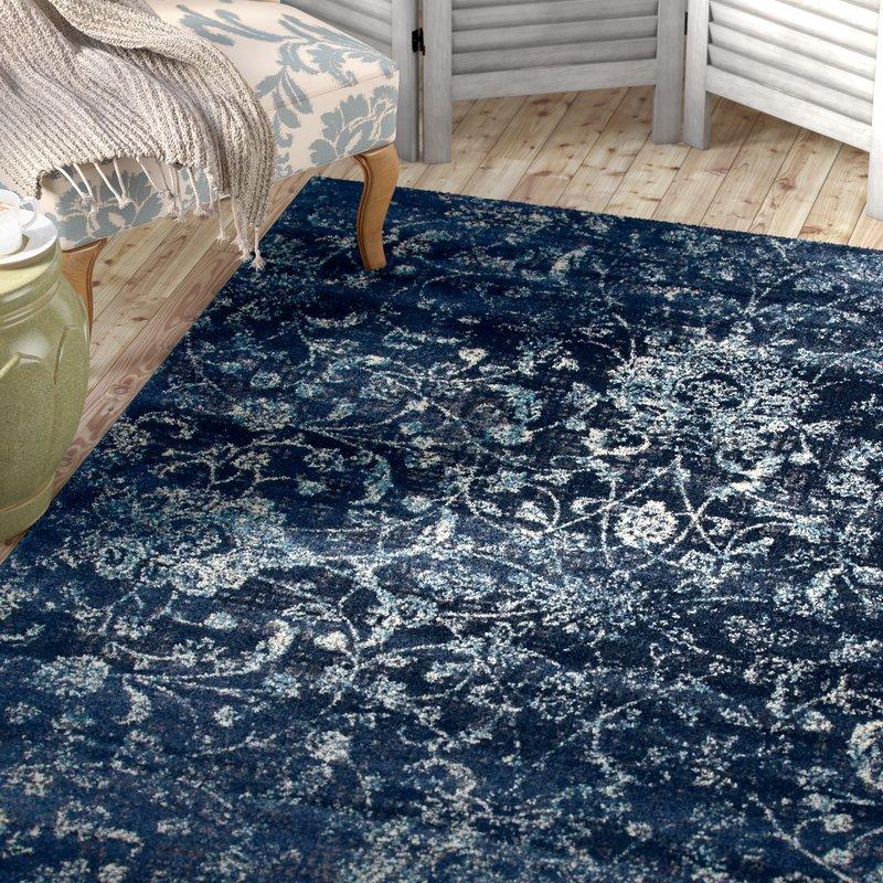 devay floral steel blue area rug OADXCFR