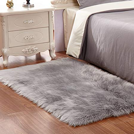 faux fur rug grey soft fluffy rug shaggy rugs faux sheepskin rugs floor FXIZJSI