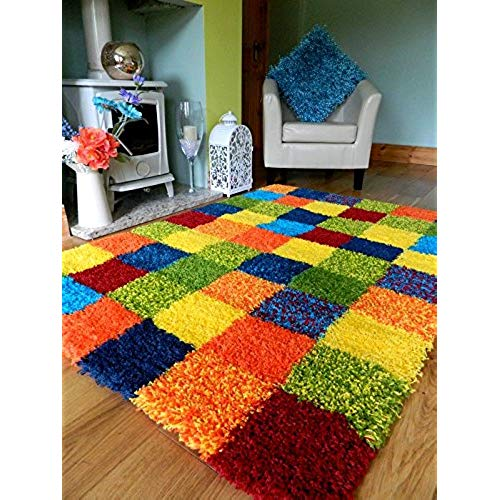 Funky rugs multi coloured funky bright modern thick soft heavy quality shaggy area rug GERXNLS