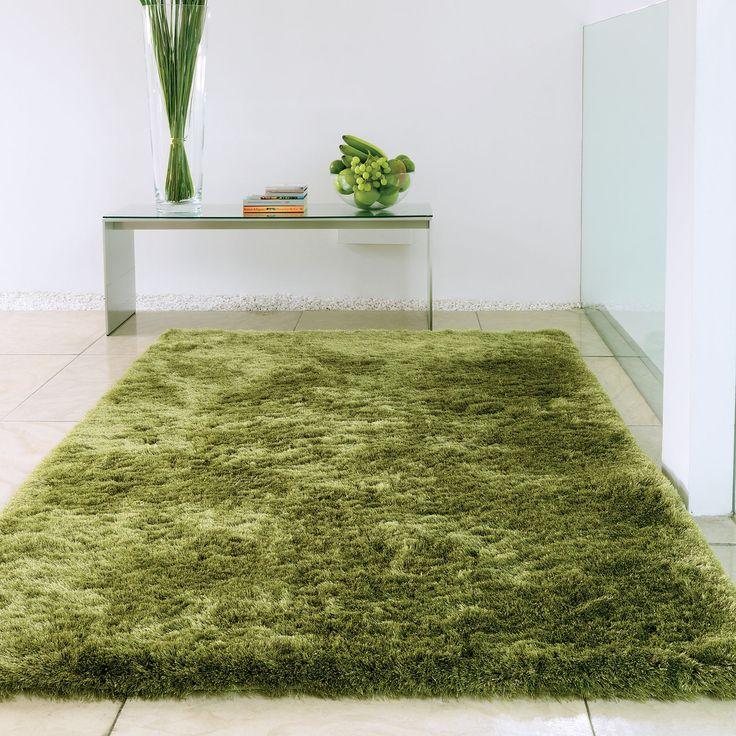 green rugs whisper shiney shaggy rugs in apple - free uk delivery IBKWSDA