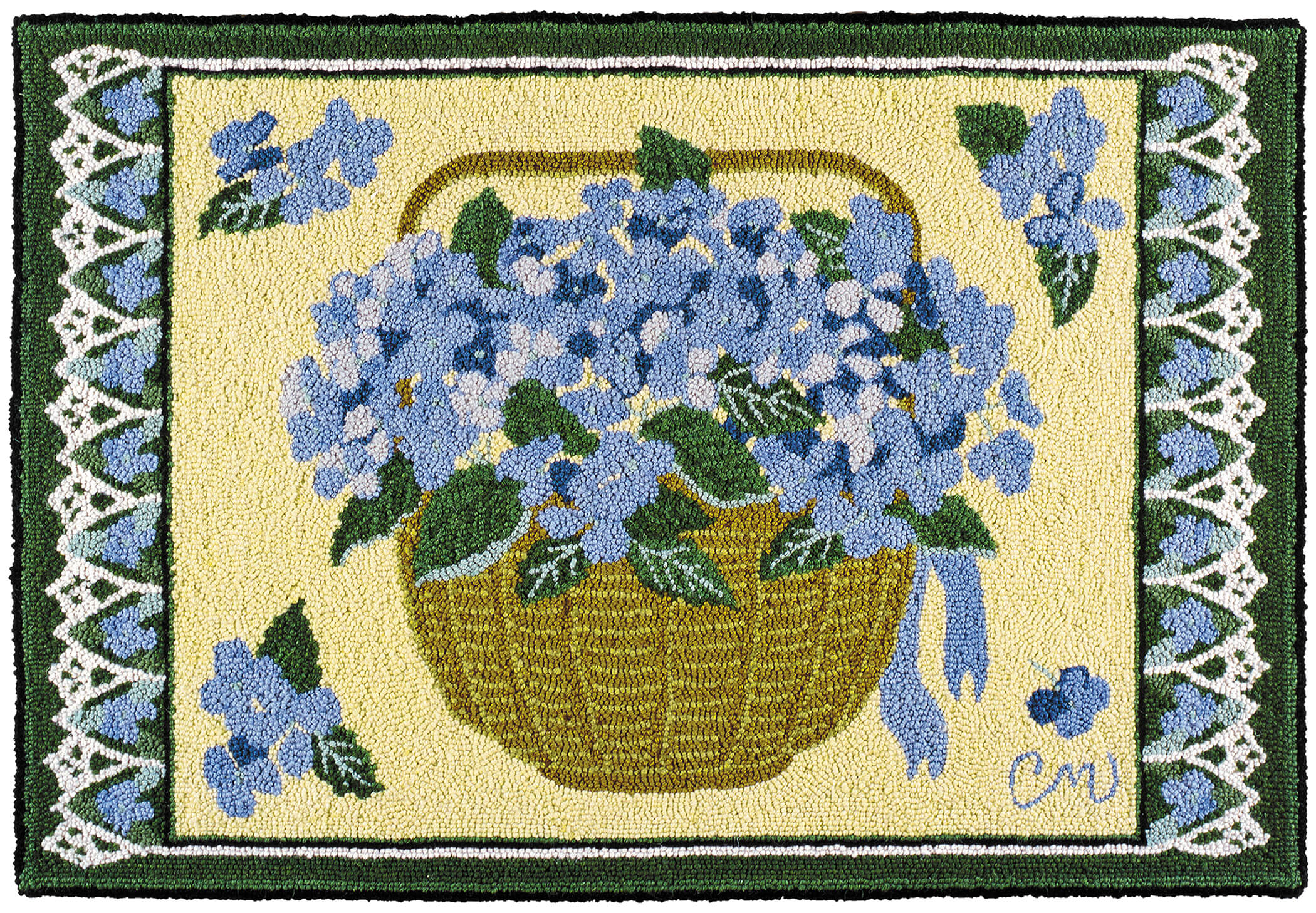 hand hooked rugs claire murray hydrangea basker 2 x 3 hand hooked rug QZVFWEW
