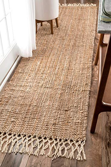 hand woven rugs nuloom hand woven jute with wool fringe runner area rugs, 2u0027 6 ... GXIRJUJ