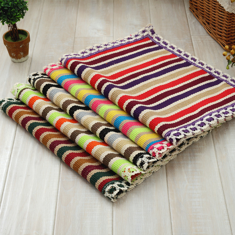 Handmade woven rugs cotton woven rug handmade doormat kids children rug with lace home  decorative IGSFJFX