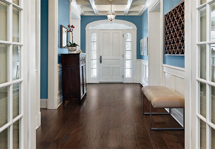 hardwood flooring ideas deep-tone engineered wood flooring in a formal foyer. CDXUKHP