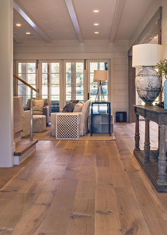 hardwood flooring ideas wide plank white oak hardwood floor for a living room ZKNWBSE