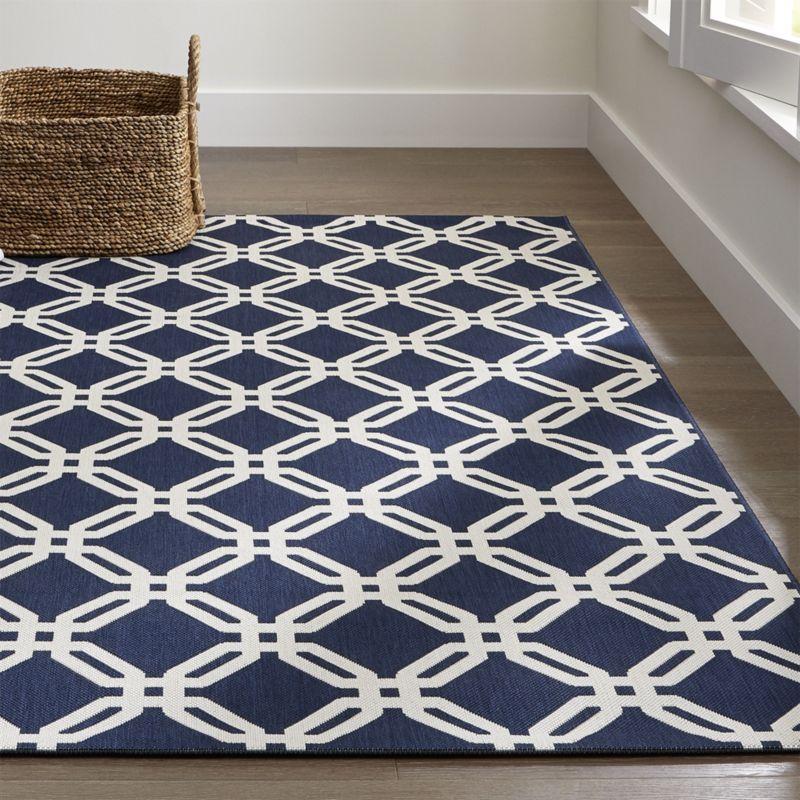indoor outdoor rug arlo blue outdoor rug | crate and barrel QWHULOZ
