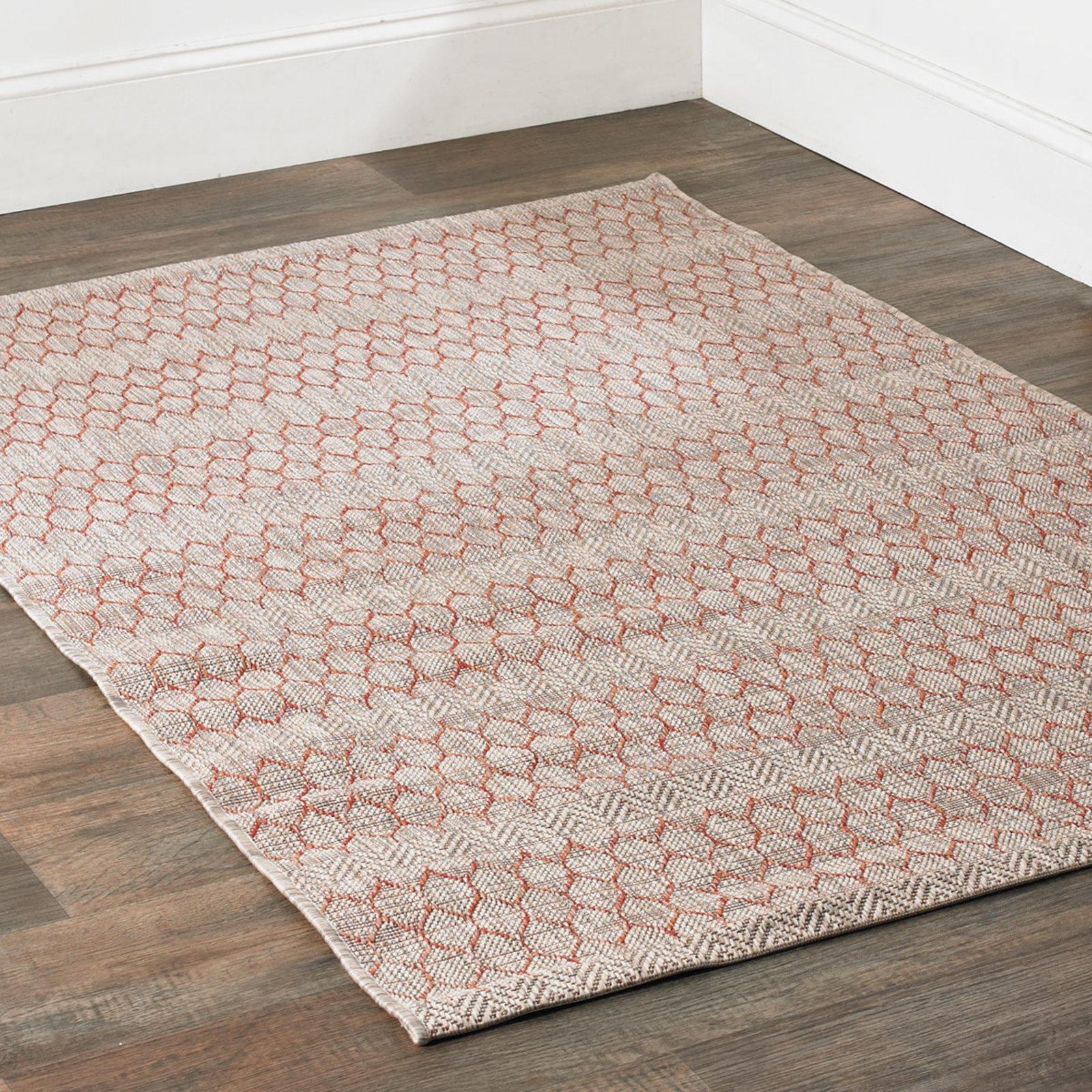 indoor outdoor rug honeycomb indoor-outdoor rug beige_rust WTIWRBM