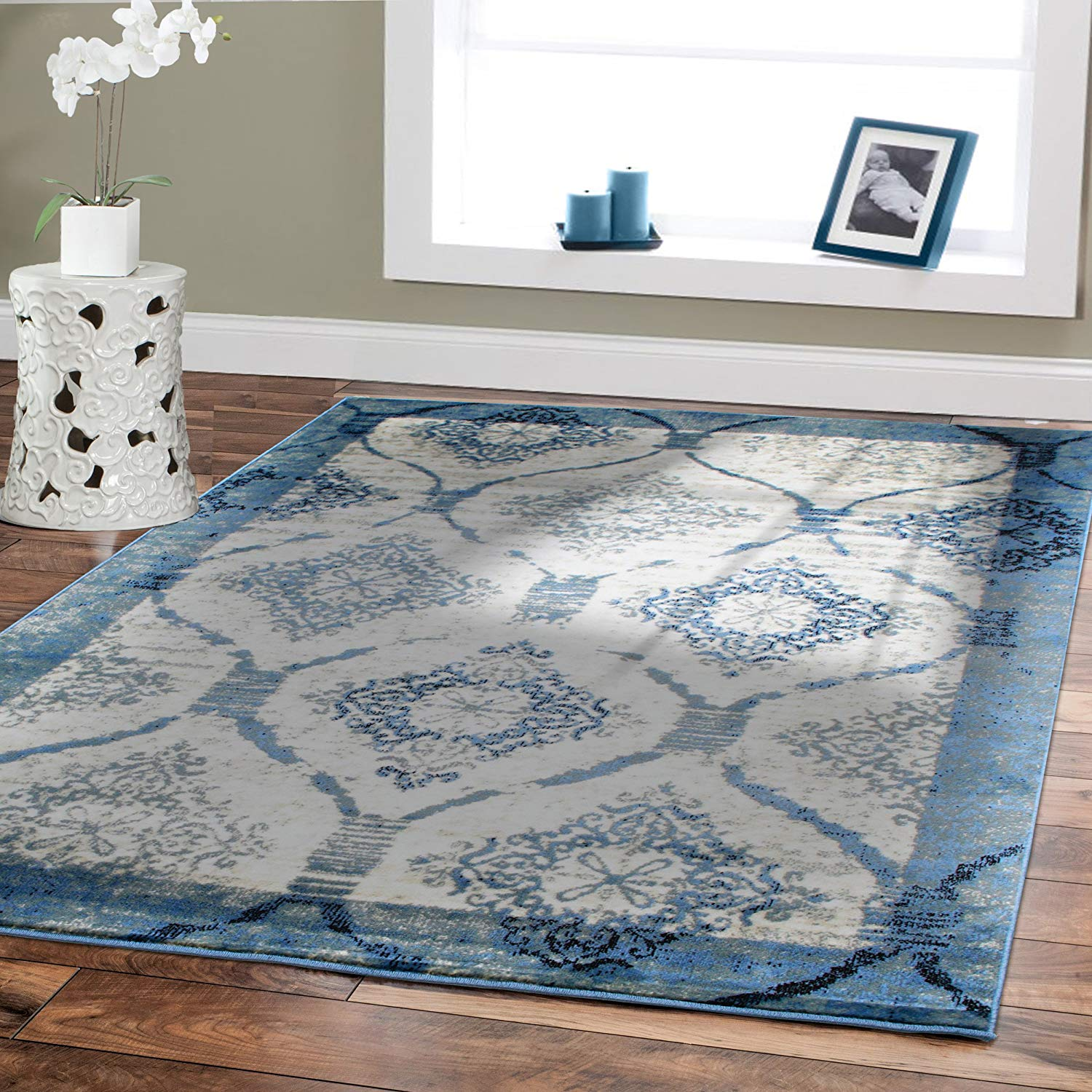 indoor rugs amazon.com: premium 8x11 rug blue modern rugs for living room blues cream IYEDMFU