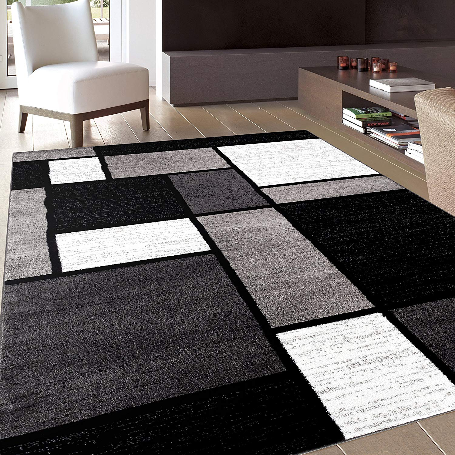 indoor rugs amazon.com: rug decor contemporary modern boxes area rug, 5u0027 3 PXFLCAT