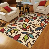 indoor rugs orian rugs bright colors leaves dicarna ivory area rug - walmart.com KOEMTJX