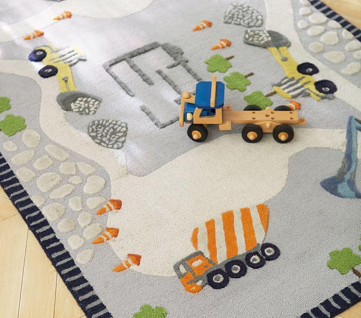 kids rug construction rug | pottery barn kids JGRJTRF