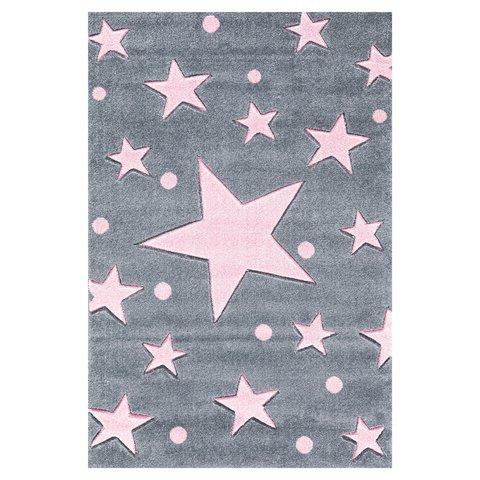 kids rug happy rugs stars silver-gray/pink 160x230cm ... ENISVWW