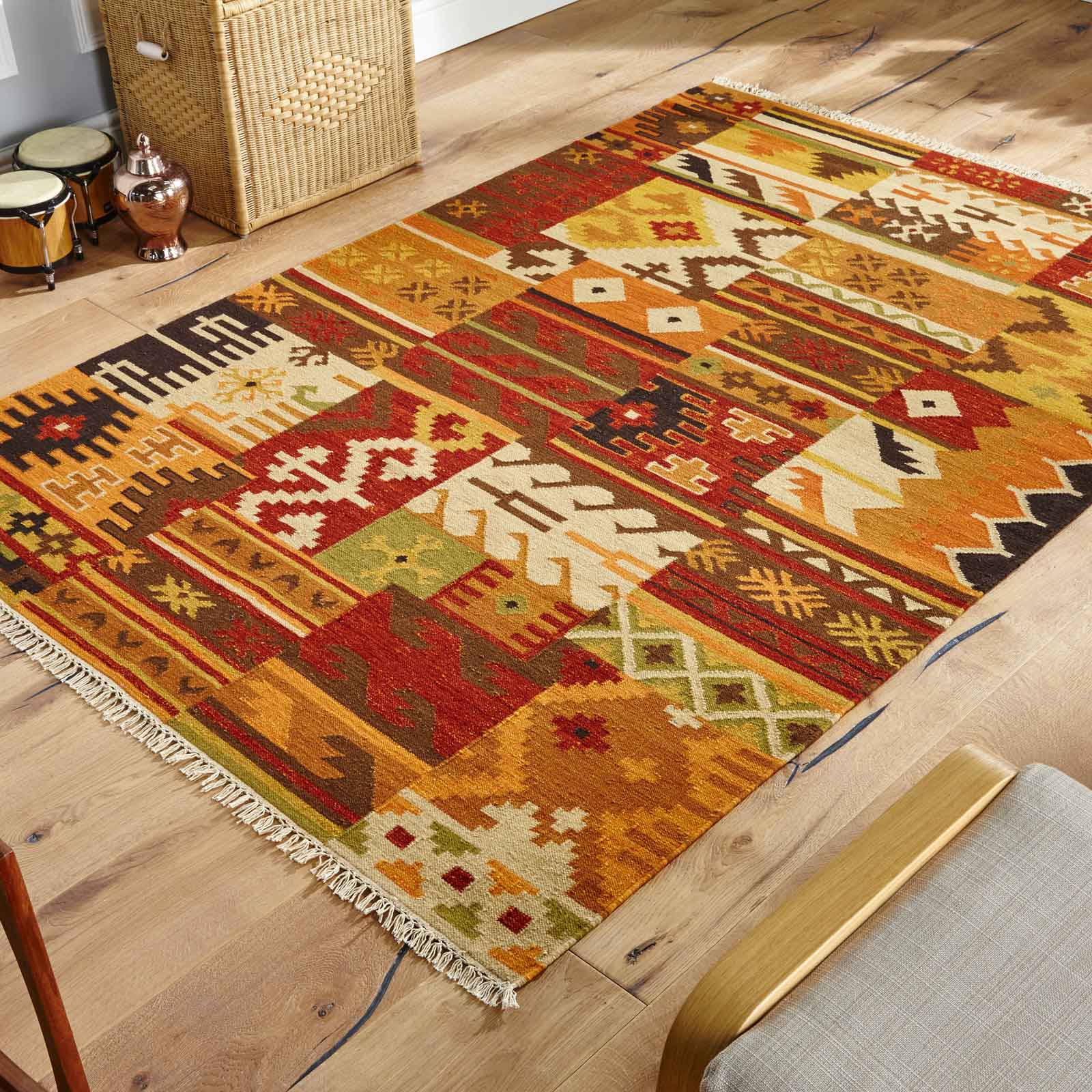kilims rugs kilim rug on wooden flooring with chair on frame of image the rug ZILALUD