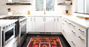 Kitchen area rugs example of a trendy u-shaped kitchen design in denver with flat-panel  cabinets ZCZXQJH