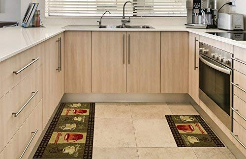 kitchen throw rugs anti-bacterial rubber back home and kitchen rugs non-skid/slip 3x5 | coffee  themed IIDKWYF