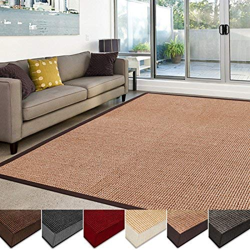 large living room rugs casa pura sisal rug | 100% natural fiber area rug | non-skid eco-friendly PMYIKUX