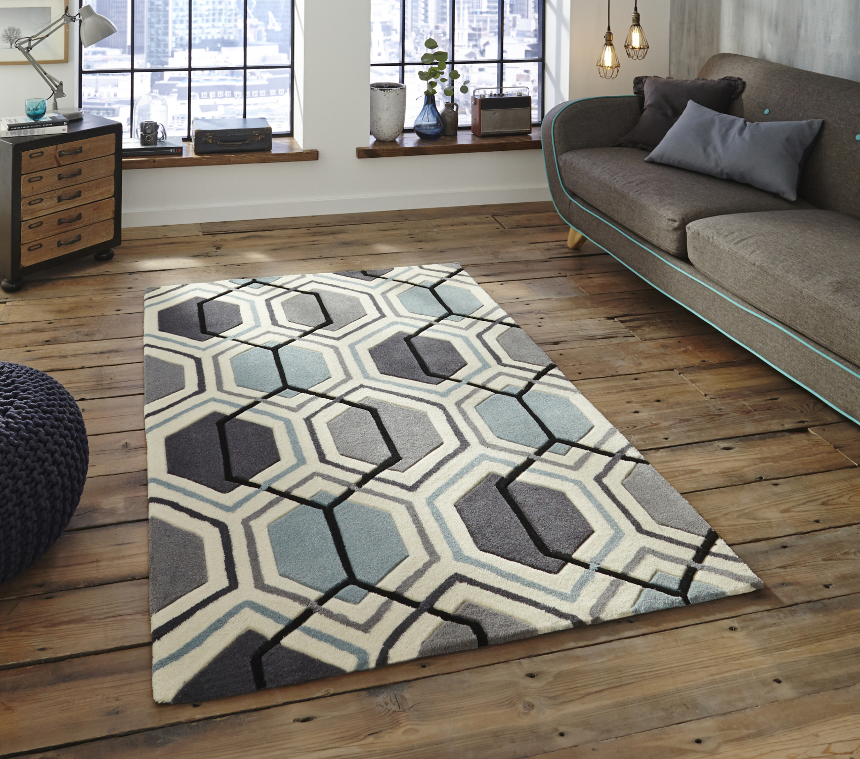 large rug hong-kong-hexagon-rug-100-acrylic-hand-tufted- WYNCTED