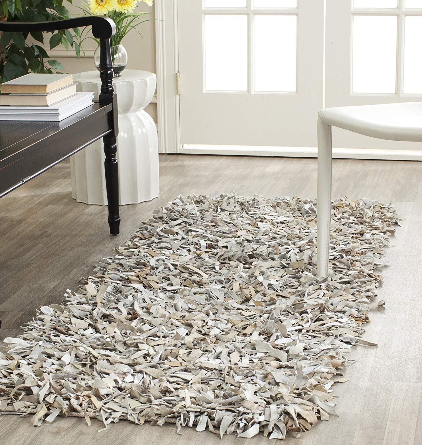 leather rug amazon.com: safavieh leather shag collection lsg511c hand woven white  leather runner (2u00273 GZWRQWN