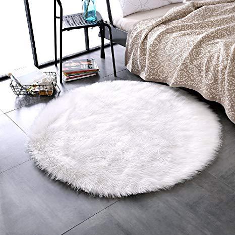 leevan plush sheepskin throw rug faux fur elegant chic style cozy shaggy OTGGCLA