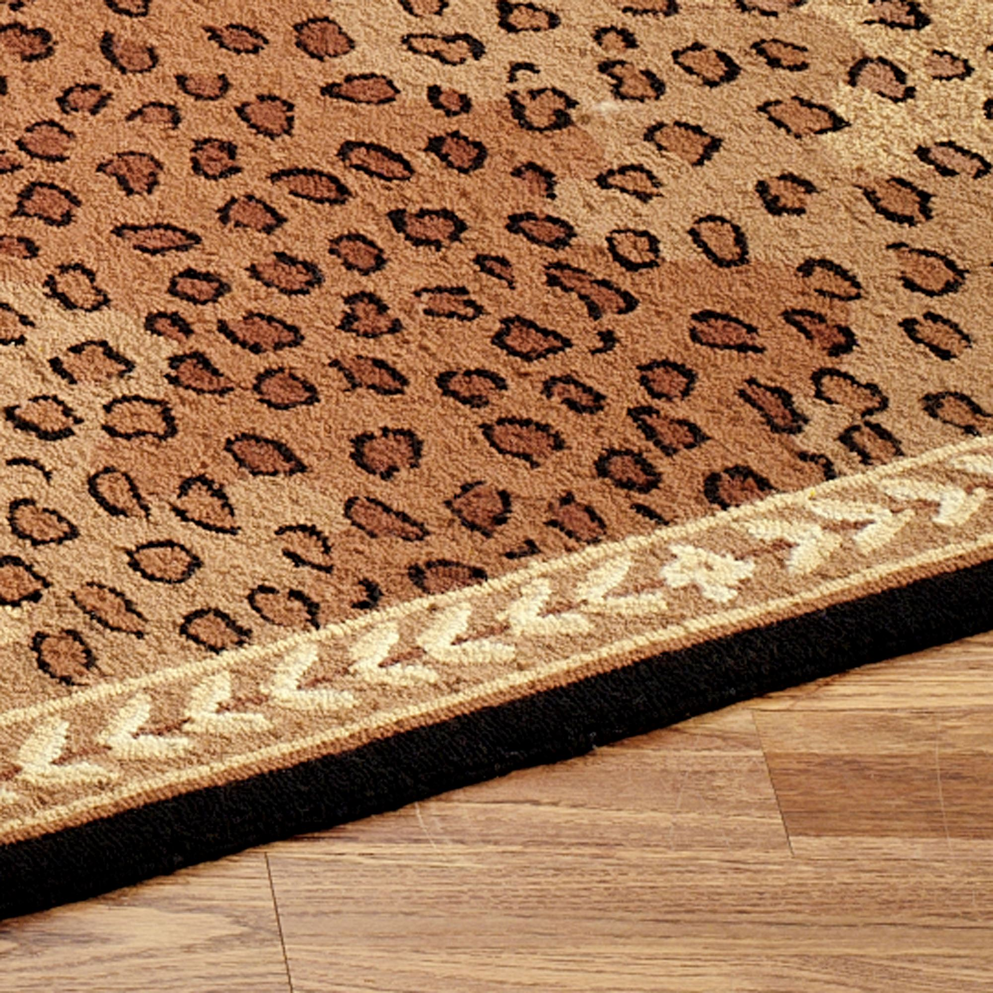 leopard rug runner black brown UCEJOVG