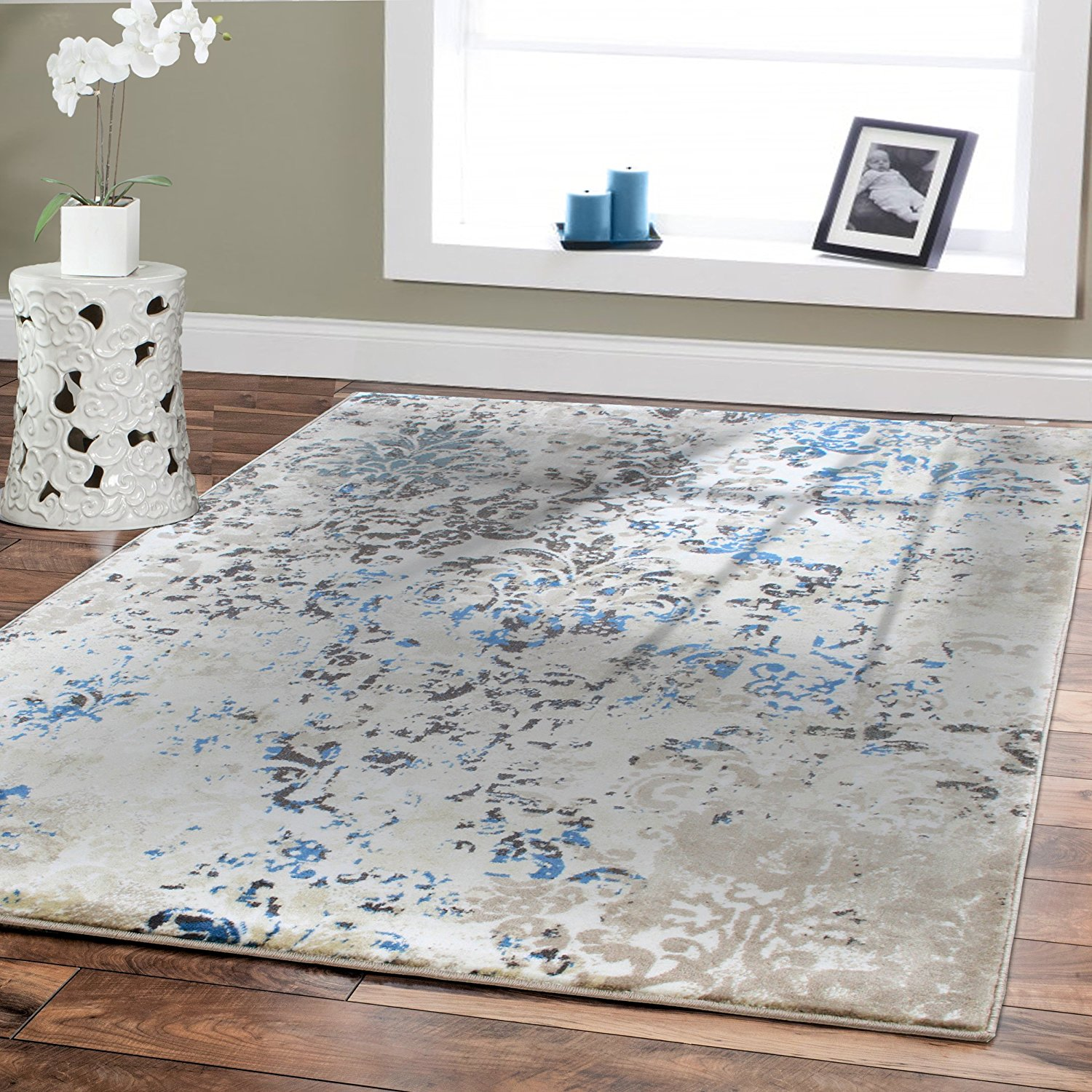 luxury high quality rugs for living room 5x8 cream blue dynamix modern rug FIOCXDX