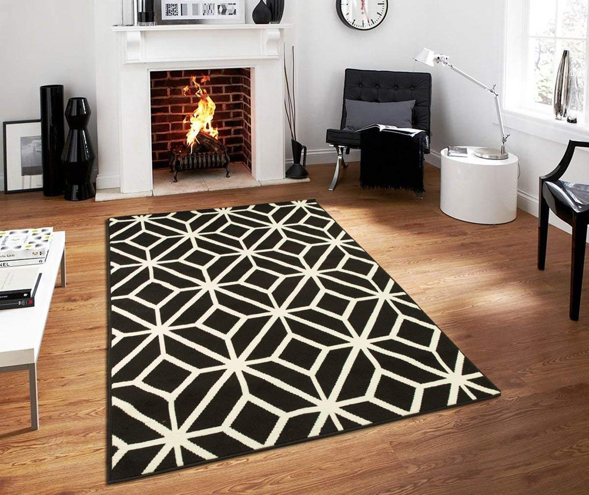 modern black area rug amazon.com: contemporary rugs for living room modern rugs 5x7 black and  white EQWJSRD