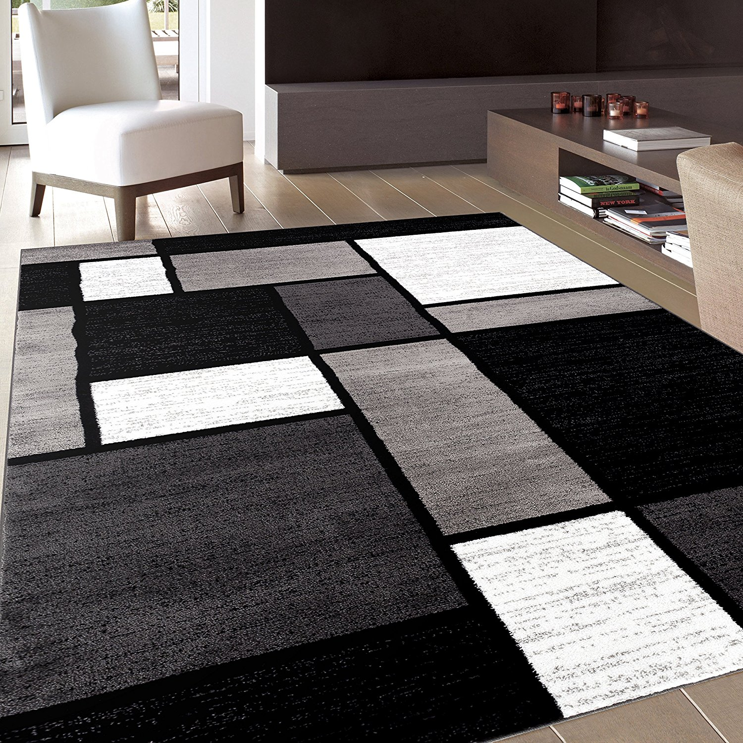 Black area rug for modern theme