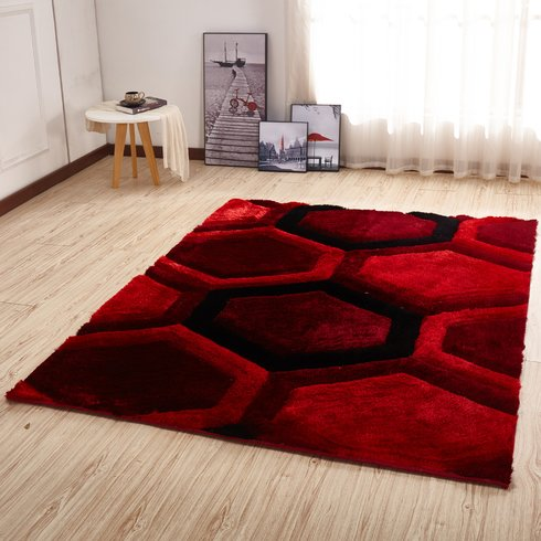 modern black area rug kleiber modern shaggy 3d red/black area rug LHVPQXV