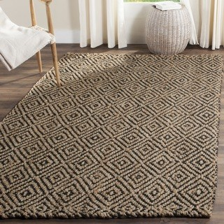 natural rugs safavieh casual natural fiber hand-woven natural / black jute rug - 7u0027 GTRKCPU