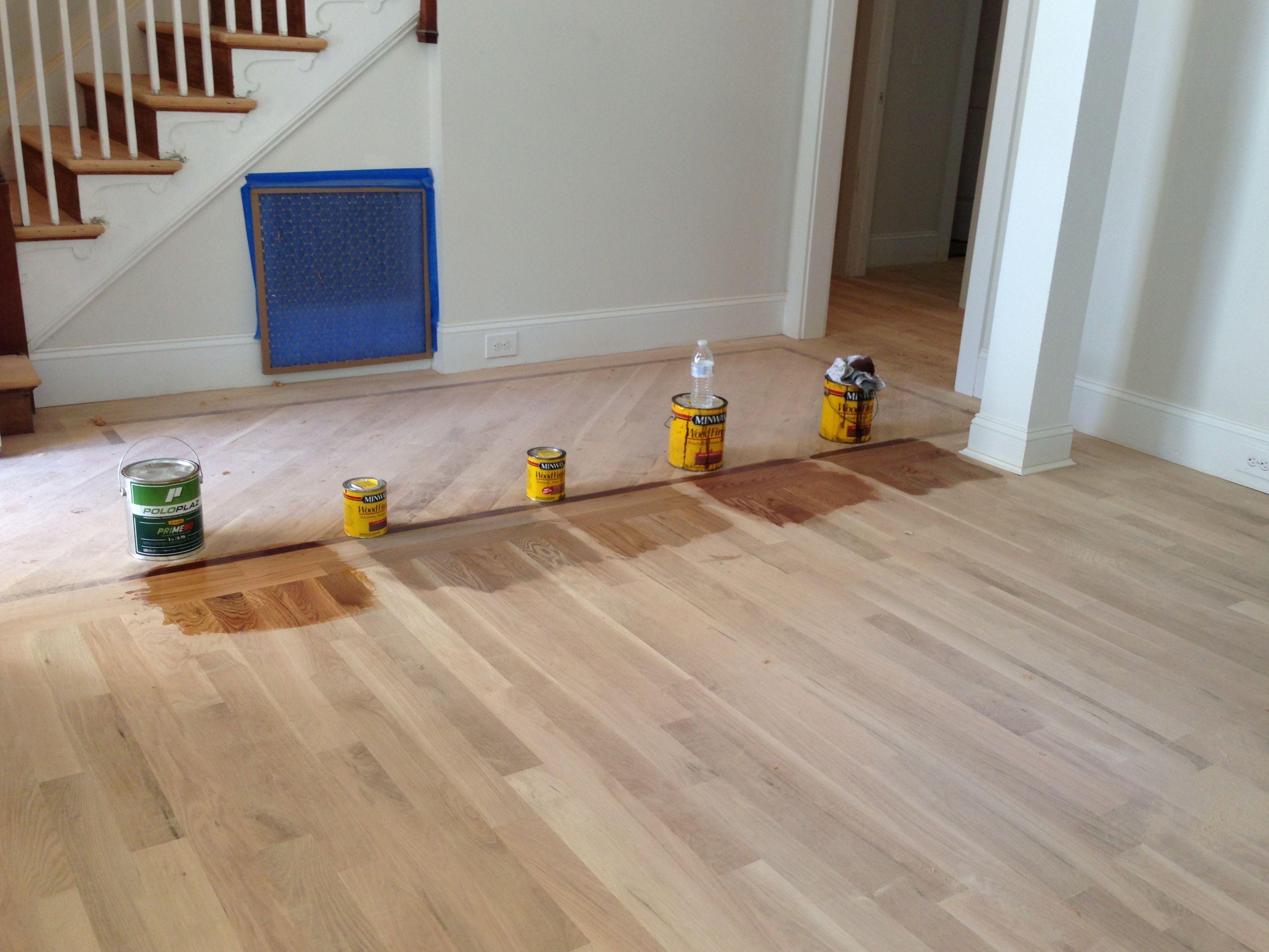oak floors minwax floor stains for white oak flooring: far left, just polyurethane;  second AHJULOT