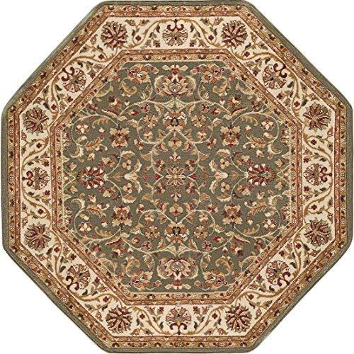 octagon rugs ventura transitional oriental green octagon area rug, 5u0027 octagon IAQSSPF