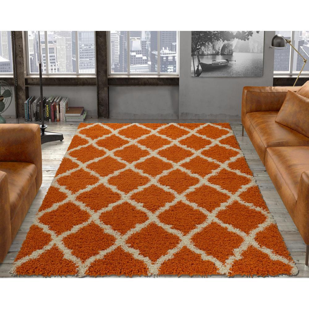 orange rugs ottomanson ultimate shaggy contemporary moroccan trellis design orange 5  ft. x 7 ERMFPAR
