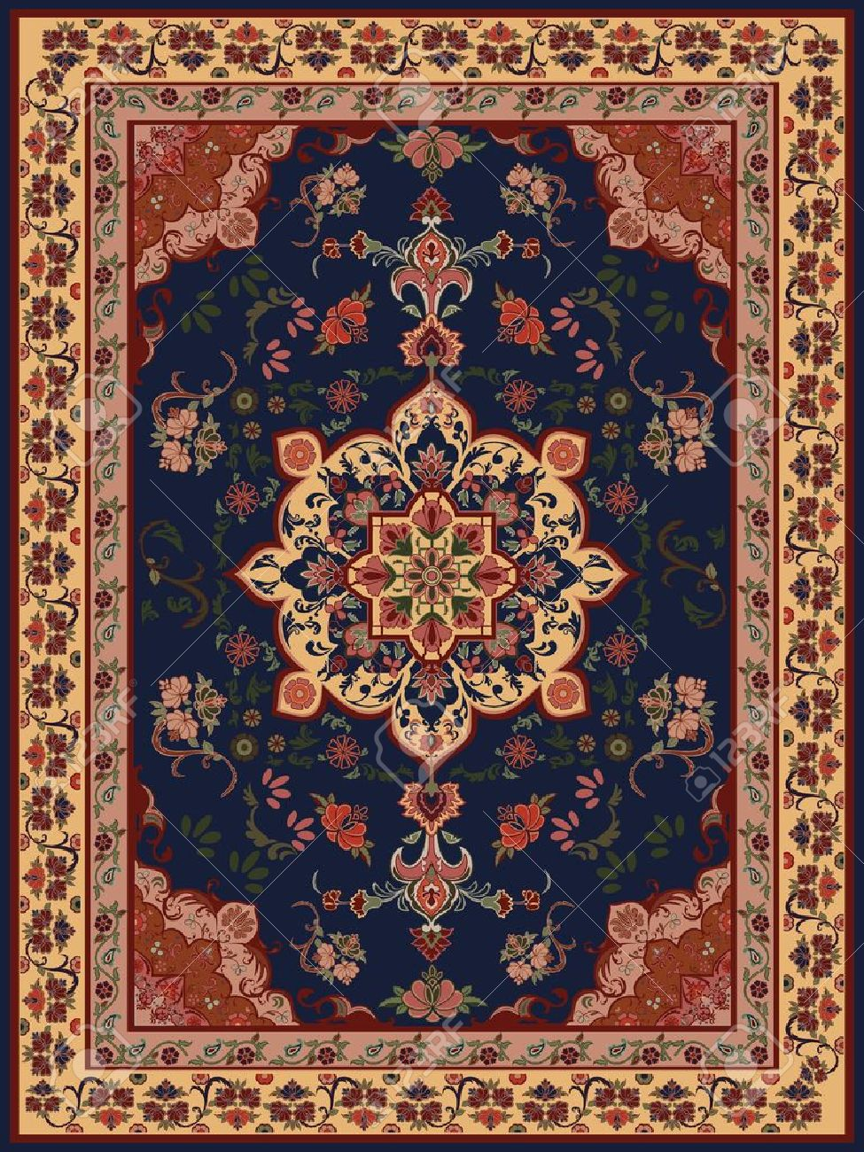 oriental floral carpet design stock vector - 11431921 BWRKKOM