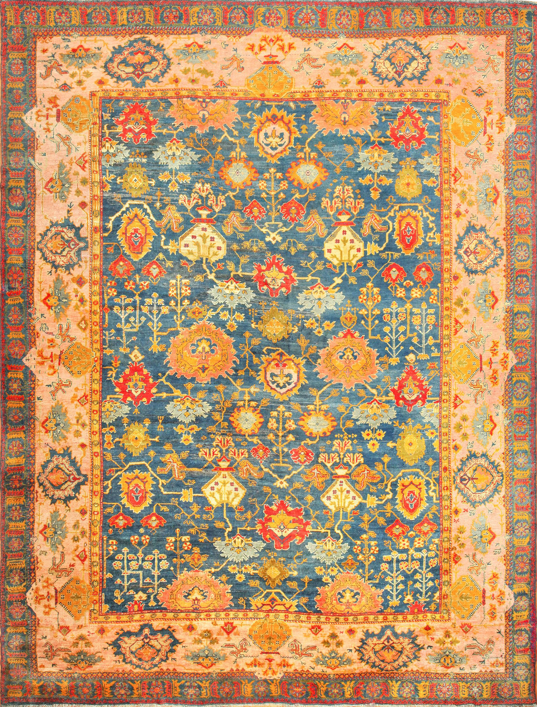 oushak rugs antique blue background turkish oushak rug 49108 nazmiyal RJSVZQB