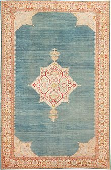 oushak rugs strongly outlined palmettes and delicate botanical decorations adorn the  central medallion of IXQCNHI