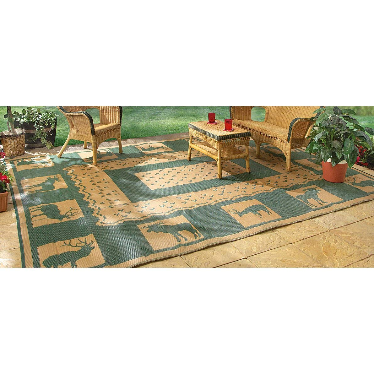 Outdoor patio carpets amazon.com : guide gear 6u0027 x 9u0027 reversible lodge patio mat khaki / MCWZBIC
