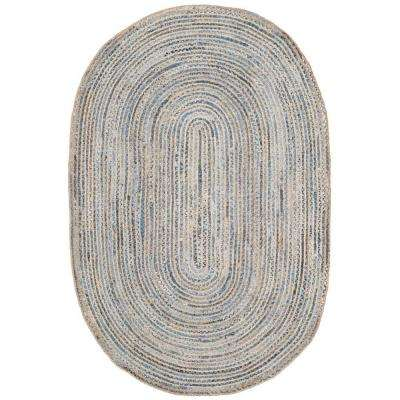 oval rug cape cod natural/blue 6 ft. x 9 ft. oval area rug MLTADZQ