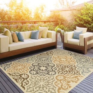 Patio rug colton yellow/brown indoor/outdoor area rug LRYIFDX