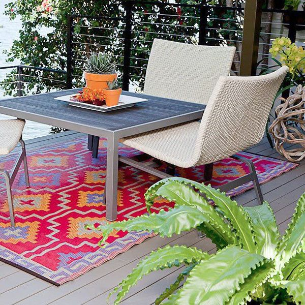 Patio rug orange and violet JLAOOYZ