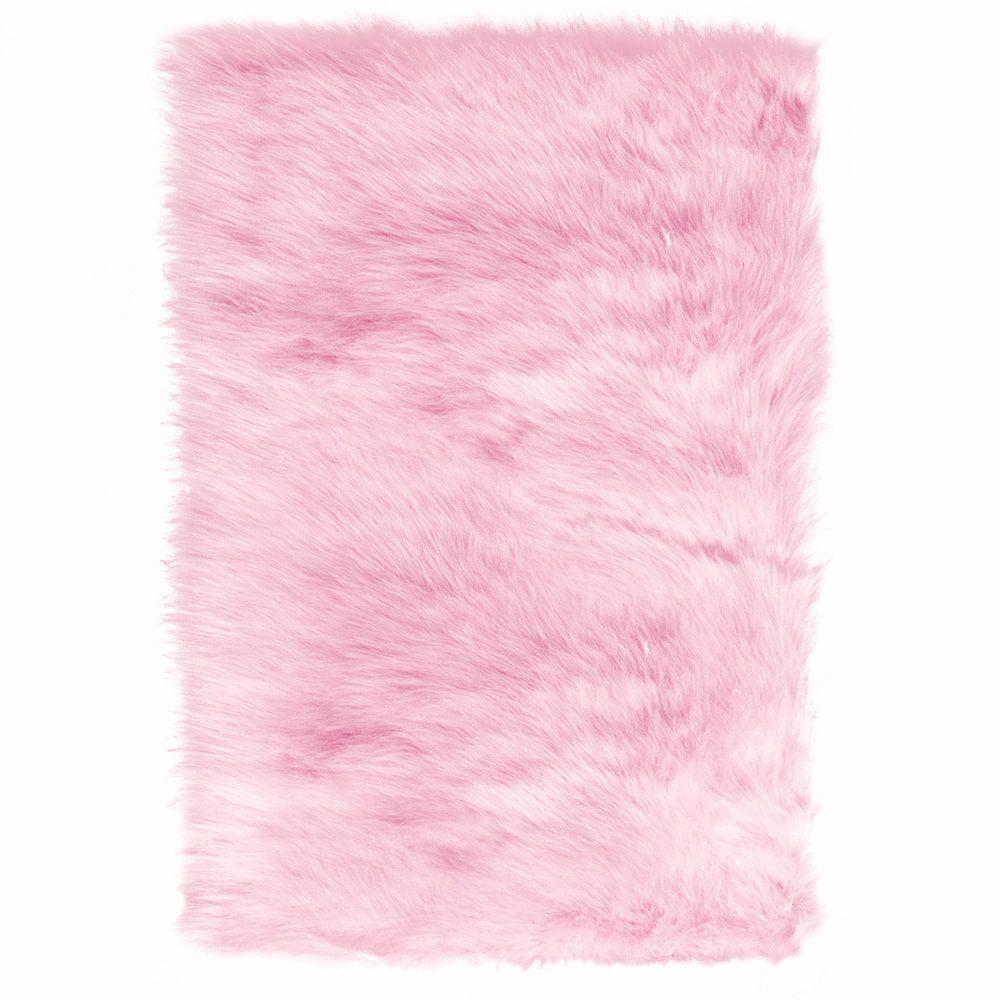 pink area rugs home decorators collection faux sheepskin pink 3 ft. x 5 ft. area rug VNSELYJ