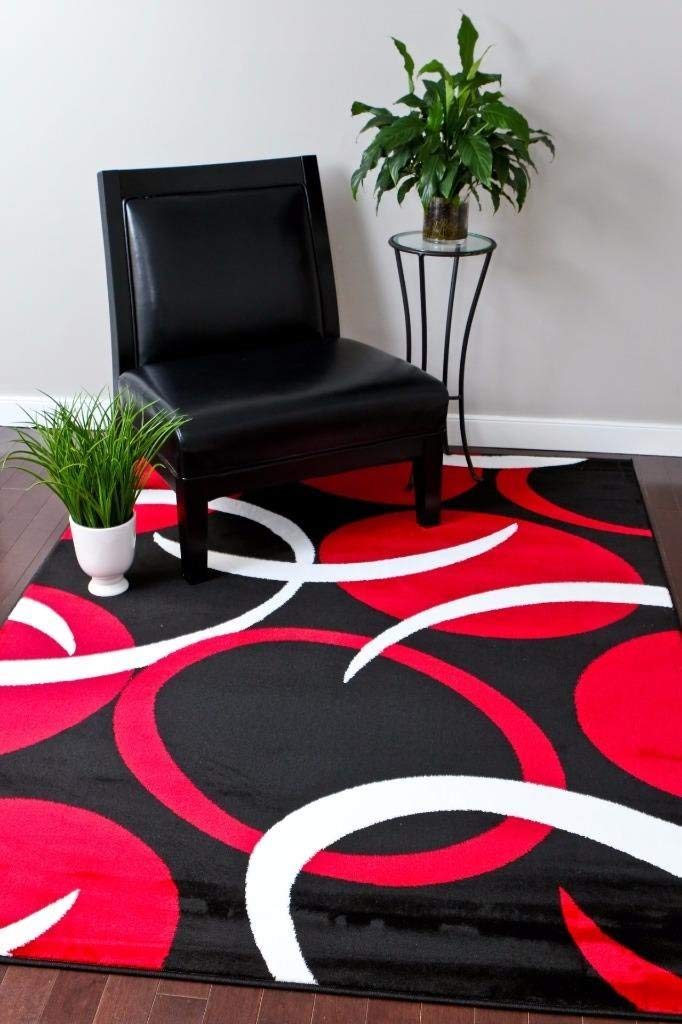 Red area rug amazon.com: 1062 red black 5u00272x7u00272 area rugs carpet modern abstract new:  kitchen HWOBQFY