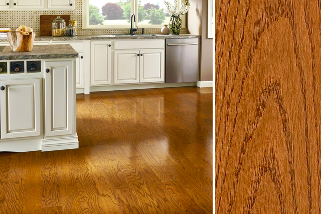 red oak flooring in the kitchen - prime harvest oak solid - butterscotch QDYJMVN