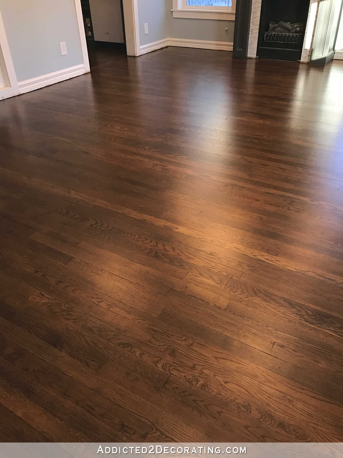 red oak flooring refinished red oak hardwood floors - entryway and living room ZTOCBWR