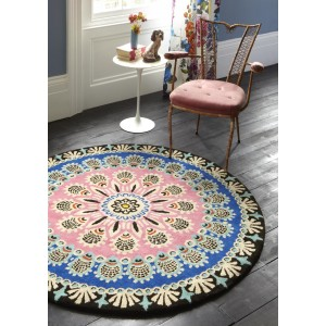 Retro rugs nomadic circular rug - pink, blue and black 150cm TVNIAGZ