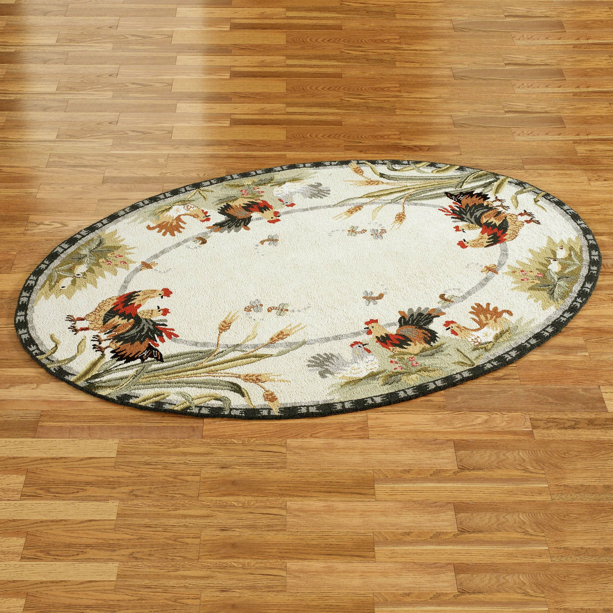 rooster and hens oval rug VRAYTYQ
