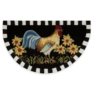 Rooster rugs nourison 32-inch x 19-inch rooster kitchen rug in black UUPGZZY