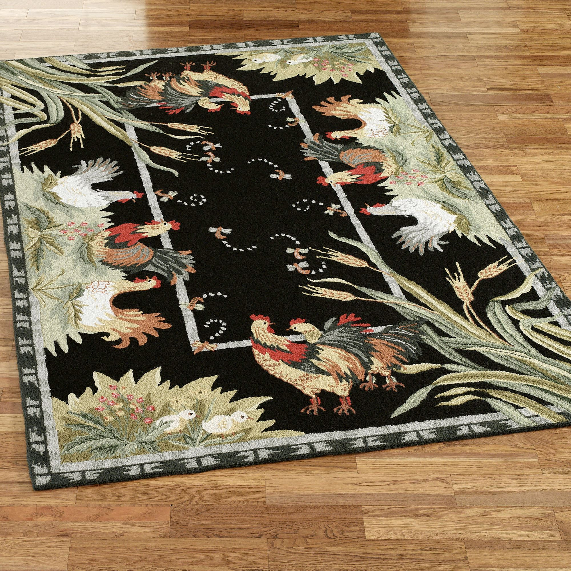Rooster rugs rooster and hens rectangle rug CMCYBDS
