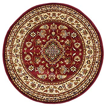 round classic oriental persian style traditional floral circular rug / mat,  red EFRJOQE